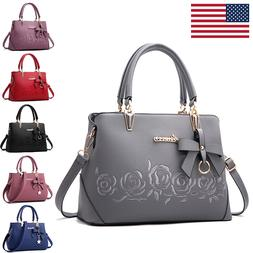 New Women Rose Handbag Ladies Faux Leather Tote Cross Body S