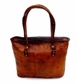 NEW Women Vintage Looking Genuine Brown Leather Tote Shoulde