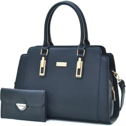 Dasein Womens Handbags Faux Leather Satchel Tote Bag Large P