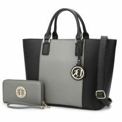 Dasein Women Faux Leather Handbags Large Tote Purse Satchels