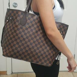 NEW! Womens Shoulder Bag Purse brown checkered Tote Fashion