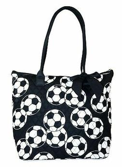 Ngil Quilted Cotton Owl Medium Tote Bag 2 Black Football New