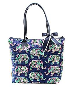 Ngil Quilted Cotton Owl Medium Tote Bag Elephant Navy Blue