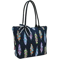 Ngil Quilted Cotton Owl Medium Tote Bag 2 Feather Navy Blue
