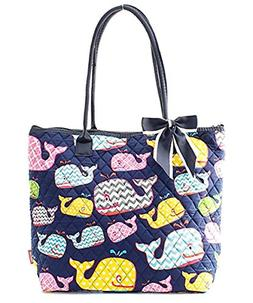 Ngil Quilted Cotton Owl Medium Tote Bag Whale Navy Blue