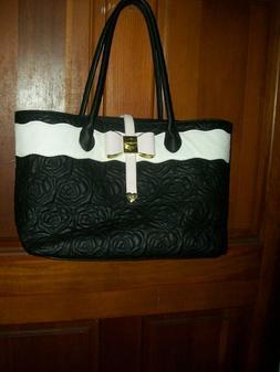 NWOT XXL Betsy Johnson Black /White/Pink Shopper Tote Bag Pu