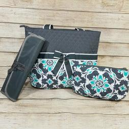 NWT NGil 3 pcs Floral Quilted Diaper Bag & Changing Pad Baby