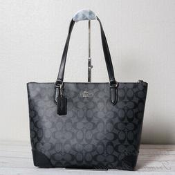 NWT Coach F29208 Zip Top Tote In Signature Canvas Smoke Blac