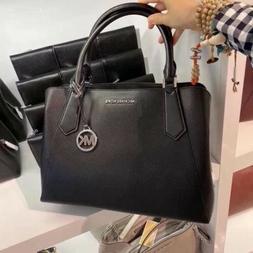 NWT Michael Kors Kimberly  Black Pebbled Leather LARGE Satch