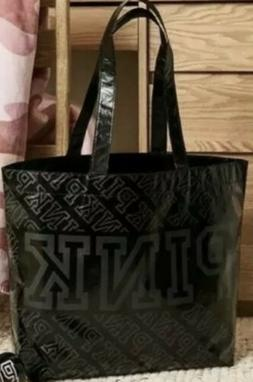 NWT Large Victorias Secret Pink Reusable Black Tote Womens B
