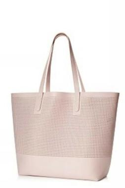 NWT Macy's Large Mesh Tote Bag Pink Pale Shoulder Beach Gy
