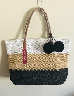 NWT Merona straw faux leather tote bag purse beach white/tan