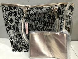 NWT Victoria's Secret Graffiti Tote Bag Clear Graphic with G