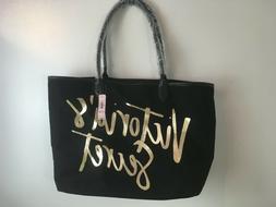 NWT Victorias Secret Tote Bag~Medium~Black & Gold~Leopard Pr