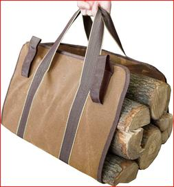 OceeK Canvas Log Tote Bag Carrier Large Heavy Duty Canvas Fi