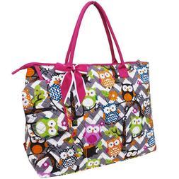 NGIL Owl Gray Chevron w/ Pink Trim Large Overnight Tote Bag-