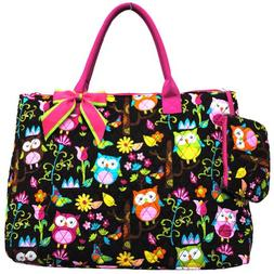 Owl Print Quilted Over Night Tote Bag-hot pink