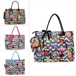 Owl Town Gray Chevron NGIL® Quilted Overnight Tote Bag