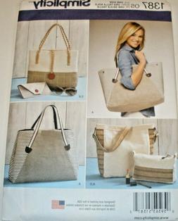 Simplicity Pattern 1387 large Bag Tote Purse uncut