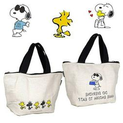 Snoopy Peanuts Small Canvas Tote Bag Full Zip ~ 2015 Japanes