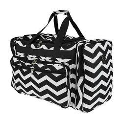"""Personalized Chevron Black White 19"""" Duffel Bag Sports Gym T"""