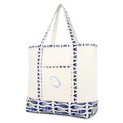 DALIX Personalized Shopping Tote Bag Monogram Initial Zipper
