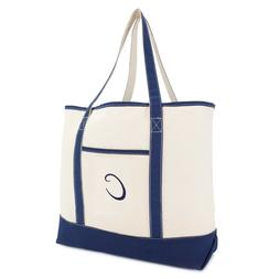 DALIX Personalized Tote Bag For Women Monogram Initial Open