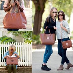PERSONALIZED VEGAN LEATHER CAMEL BROWN LAPTOP CASE TRAVEL TO