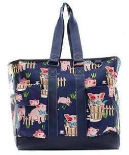 Pig Farm Barn Canvas Zippered Large Caddy Organizer Tote Bag