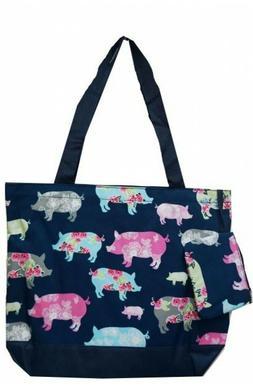 Super Cute Canvas Floral Piggy Print Tote Bag-Monogram Inclu