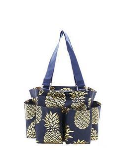 Pineapple Navy/Gold NGIL Small Zippered canvas purse Caddy O