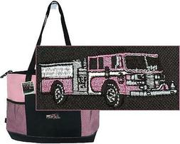 Pink Fire Truck Gemline Select Zippered Tote Bag Custom Embr