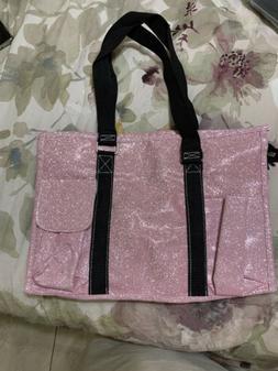 Pink Glitter NGIL Zippered Caddy Organizer Tote Bag