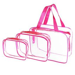 3 Pack Portable Clear Cosmetic Bag, Waterproof PVC Transpare