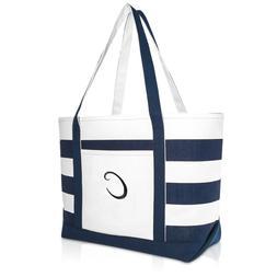 DALIX Premium Beach Bags Striped Navy Blue Zippered Tote Bag