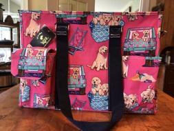 NGIL Puppy Dogs Print Canvas Zippered Caddy Organizer Tote B