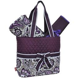 NGil Purple Paisley Quilted Diaper Bag