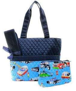 NGIL Quilted 3pcs Fire Truck and Police Car Print Diaper Bag