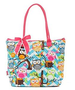Quilted Cotton Owl Chevron Medium Tote Bag