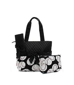 Quilted Diaper Bag 3-Piece Set, Baseball Black Trim By Quilt