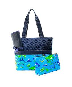 Quilted Dinosaur Print Monogrammable 3 Piece Diaper Bag With