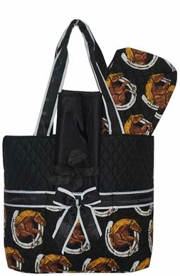 NGIL Quilted Horse Print Diaper Bag-Monogram Included