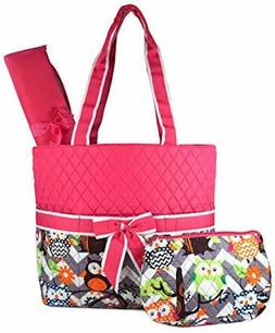 NGil Quilted Owl Print Diaper Bag; 3 Pc. Diaper Bag; Blue, P