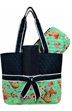 NGIL Quilted Sloth Party Print Diaper Bag-Monogram Included