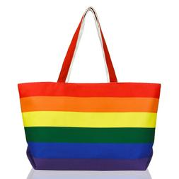 DALIX Rainbow Tote Bag with Zippered Top