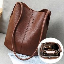 Retro Shoulder Bag Women Tote Small Handbag Bucket Bags PU L