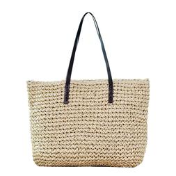 Retro Wicker Women Handbag Bags Totes Beach Straw Woven Summ