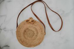Retro Wicker Women Handbag Bags Totes Summer Beach Straw Wov