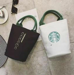 Starbucks Reusable Canvas Tote Bag, Coffee, White, Black, Gr