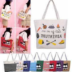 Reusable Cotton Canvas Tote Bag  Shoulder Bag For Student Wo